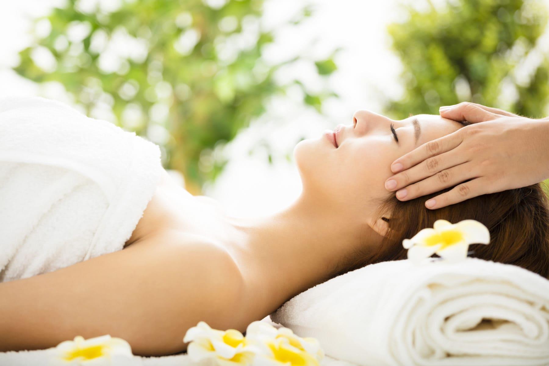 Beautiful young woman enjoy spa salon